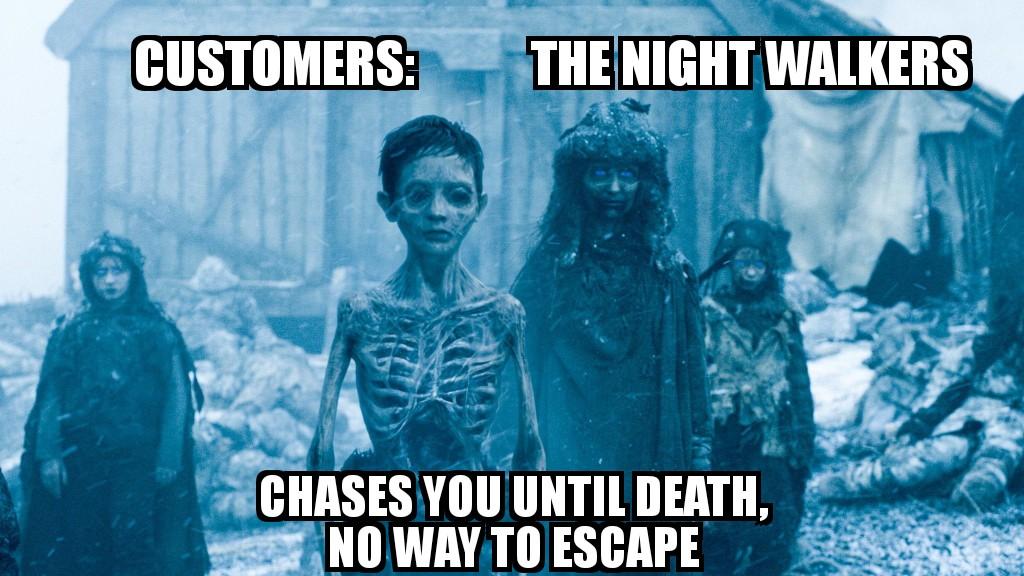 Bank meme on customers